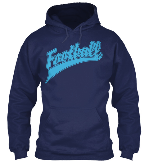 Hoodie Football Sports Sweatshirt Navy T-Shirt Front