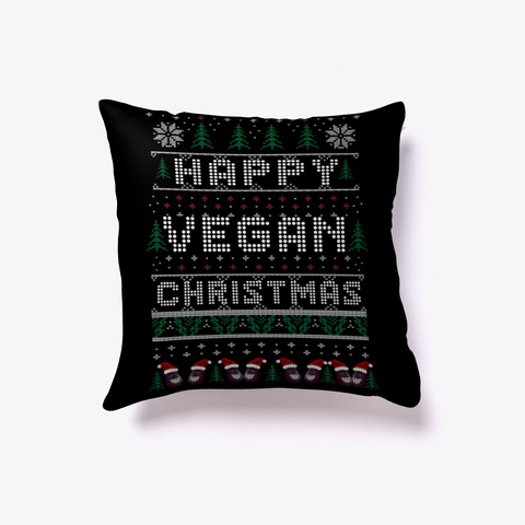 Happy Vegan Christmas  Black T-Shirt Front