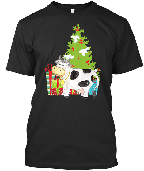 Cow Animal Shirt For Christmas Black T-Shirt Front