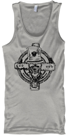 Skull With A Tophat Athletic Heather Camiseta Front