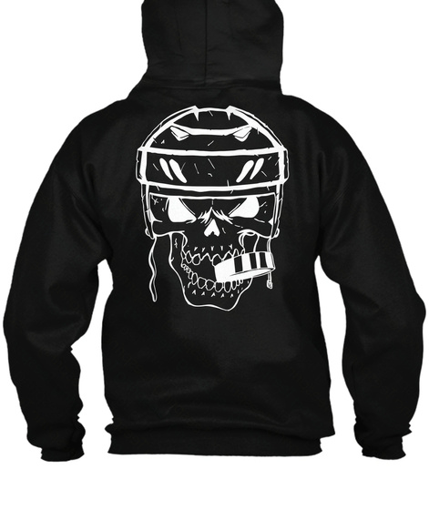 Zip Hoodie Hockey Skull Biting Puck Black Sweatshirt Back