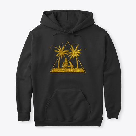 Gold Summer Beach Palm Trees Scooter Black T-Shirt Front