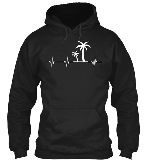 Palm Trees Heartbeat Black T-Shirt Front