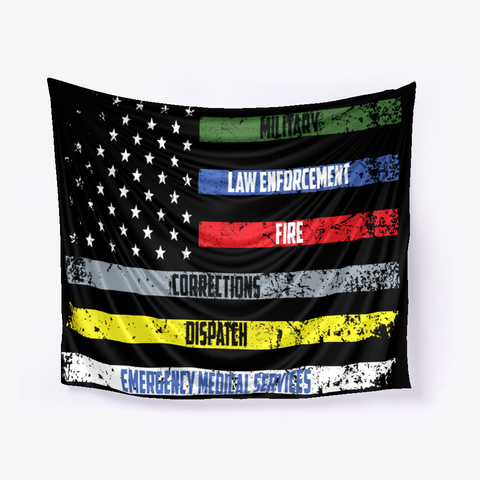 Usa Heroes Flag Black T-Shirt Front