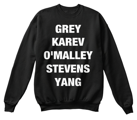 Grey Karev O Malley Stevens Yang Black T-Shirt Front