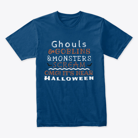 Ghouls, Goblins And Monsters Cool Blue T-Shirt Front