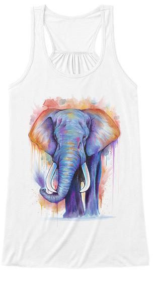 Elephant Watercolor (Tank) White Women's Tank Top Front