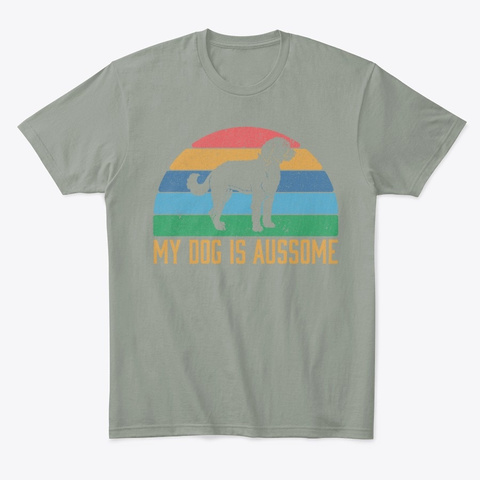 My Dog Is Aussome Funny Aussiedoodle Grey T-Shirt Front