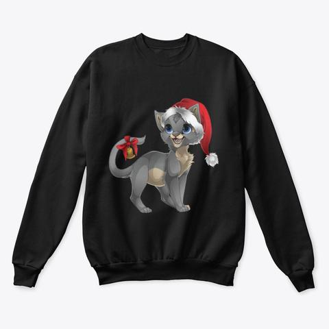 Cute Cat Christmas Sweater Black T-Shirt Front
