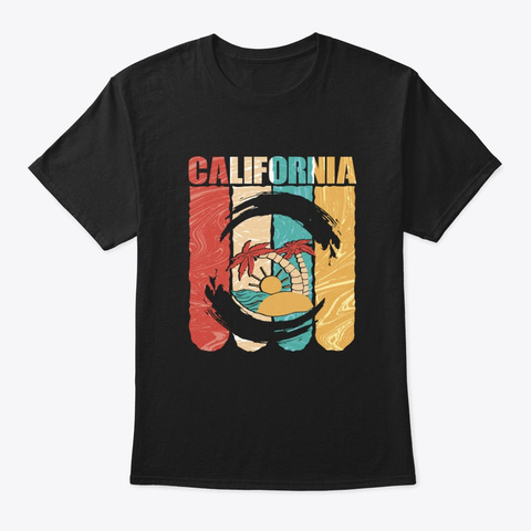 Retro Vintage California Souvenir Black T-Shirt Front