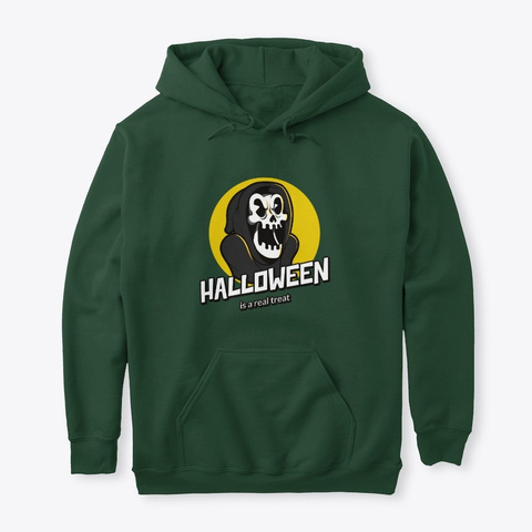 Halloween Is A Real Treat Forest Green T-Shirt Front