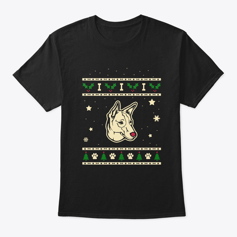 Christmas Portugese Podengo Gift Black T-Shirt Front
