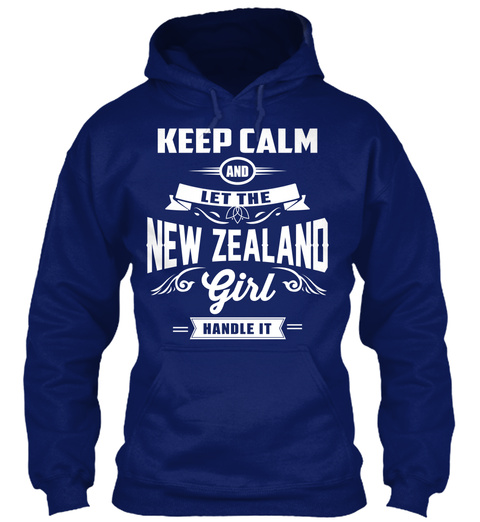 Keep Calm And Let The New Zealand Girl  Handle It Oxford Navy T-Shirt Front