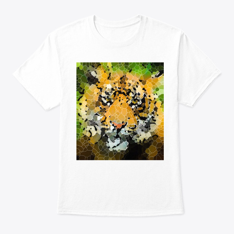 Stained Glass Tiger White T-Shirt Front