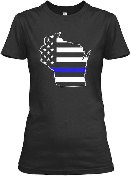 Wisconsin Thin Blue Line Women's Tshirts Black T-Shirt Front