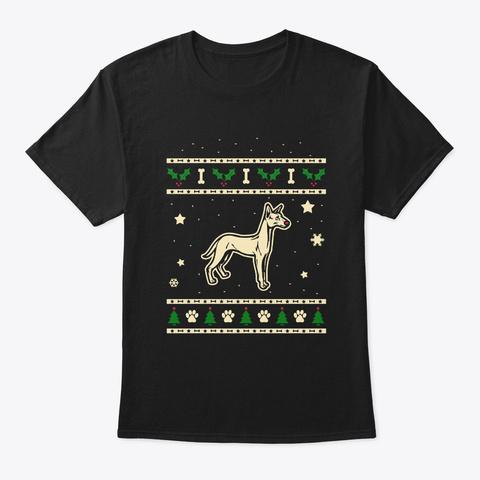 Christmas Podenco Canario Gift Black T-Shirt Front