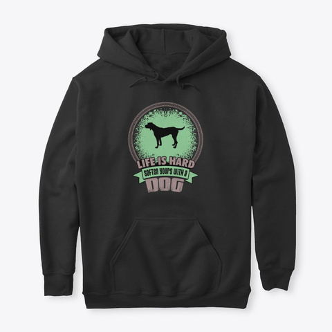 Urs With A Dog German Wirehaired Pointer Black T-Shirt Front