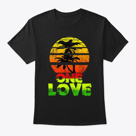 Jamaica One Love | Retro Sun Palm Trees Black T-Shirt Front