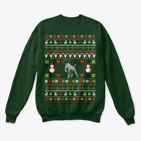 German Shorthaired Pointer Sweater Gifts Deep Forest  T-Shirt Front