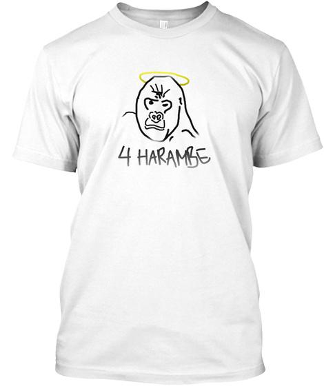 4 Harambe White áo T-Shirt Front
