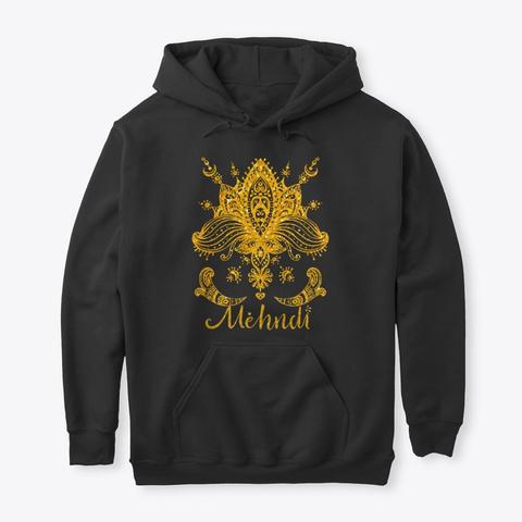 Mehndi Mandala Design Golden Yellow Black T-Shirt Front