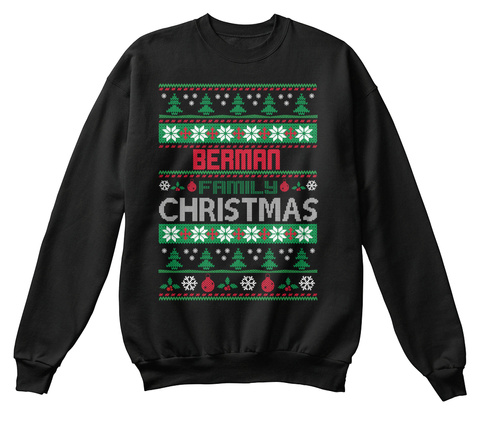 Berman Family Christmas Black T-Shirt Front