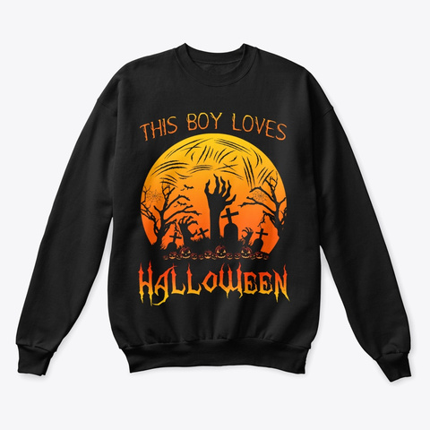 This Boy Loves Halloween Zombie Black T-Shirt Front