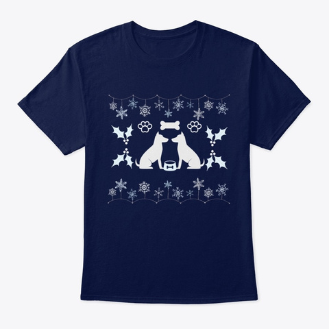Ugly Sweater Dog Lover Xmas Navy T-Shirt Front