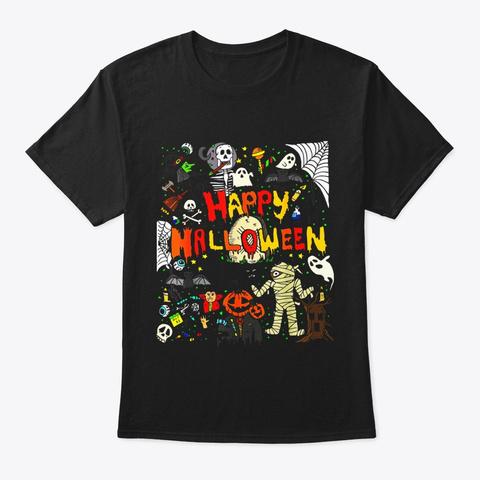 Happy Halloween Scary Retro T Shirt Black T-Shirt Front