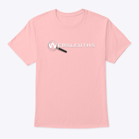 Websleuths Magnifying Glass On Back Pale Pink T-Shirt Front