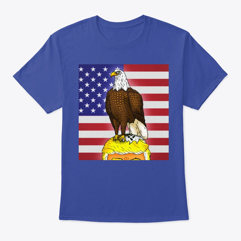 Patriotic Bald Eagle Deep Royal T-Shirt Front
