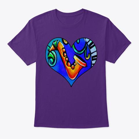 Blue Saxophone And Piano Keys Heart  Purple T-Shirt Front