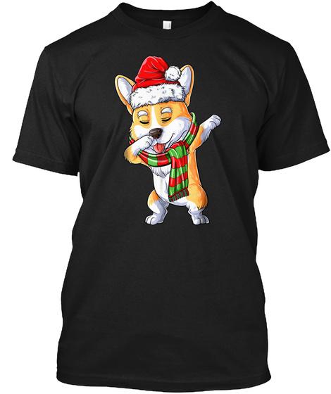 Dabbing Corgi Santa T Shirt Christmas Ki Black T-Shirt Front