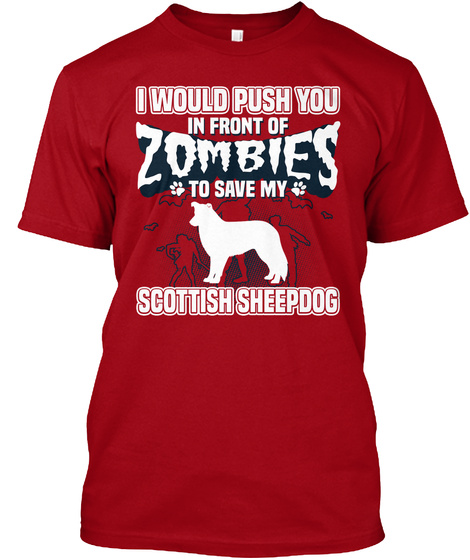 Scottish Sheepdog Deep Red T-Shirt Front