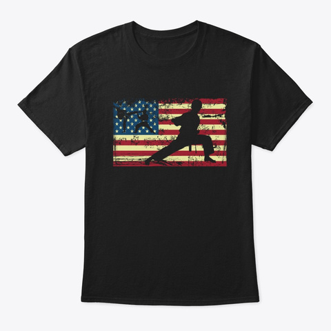 Karate American Flag Martial Arts Black T-Shirt Front