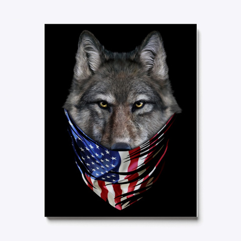 Wolf Canvas | Wolf In Flag Usa Standard T-Shirt Front