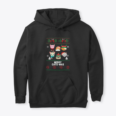 Merry Catsmas Cat  And Winter Lovers Black T-Shirt Front