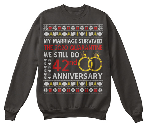 42nd Anniversary Ugly Christmas Sweater Jet Black T-Shirt Front