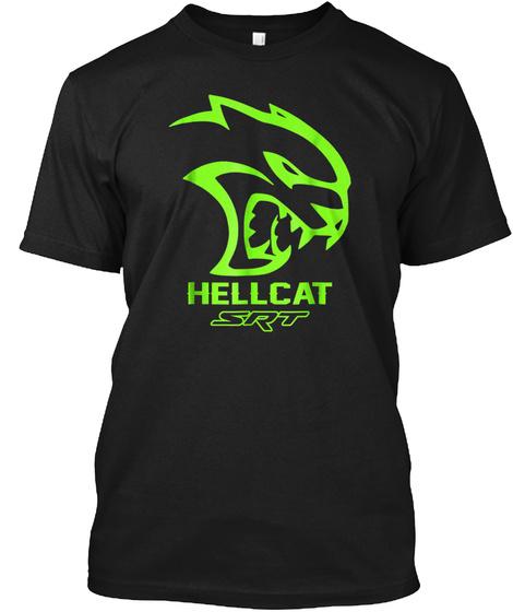 Srt Hell Cat Dodge T Shirt Green, Awesom Black T-Shirt Front