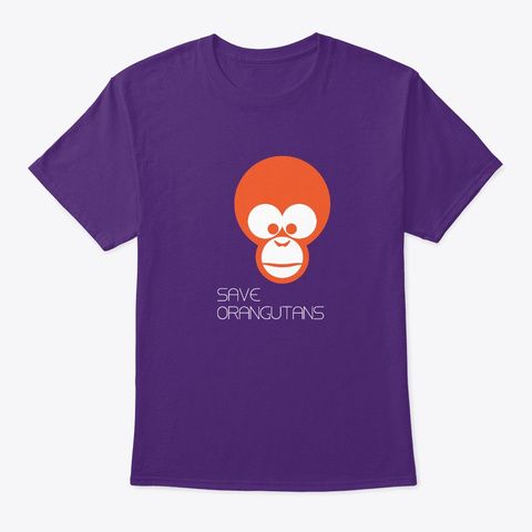Save Orangutans Purple T-Shirt Front