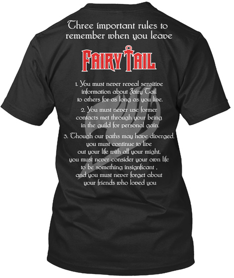 Three Important Rules To Remember When You Leave Fairy Tail Black T-Shirt Back