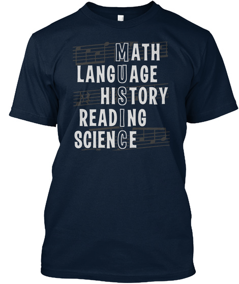 Math Language History Reading Science New Navy T-Shirt Front