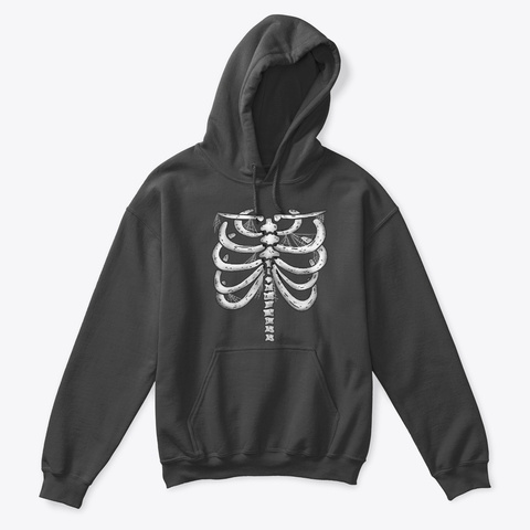 Halloween Skeleton Ribs Charcoal T-Shirt Front