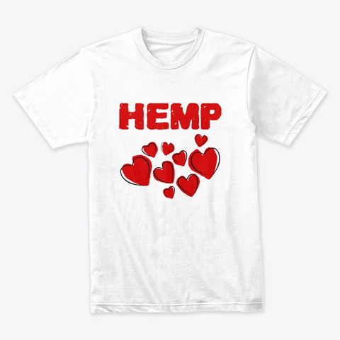 Hemp Hearts Love White T-Shirt Front
