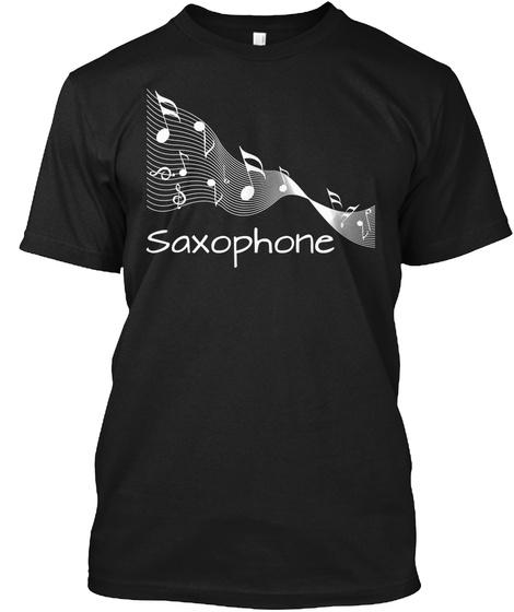 Saxophone Black T-Shirt Front