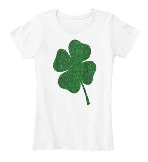 Shamrock St Patricks Tshirt White T-Shirt Front