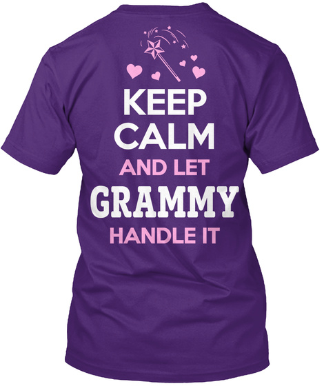 Grammy Keep Calm And Let Grammy Handle It Purple áo T-Shirt Back