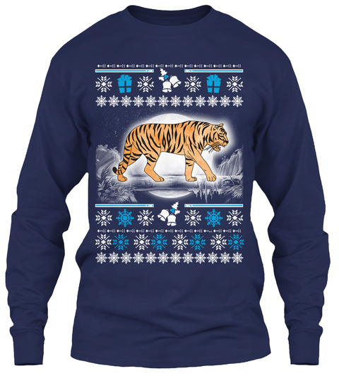 Tigers Ugly Christmas Sweater Navy T-Shirt Front