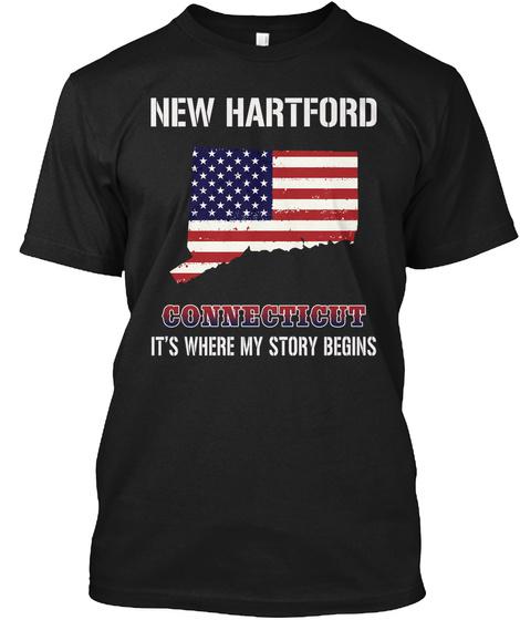 New Hartford Ct   Story Begins Black T-Shirt Front