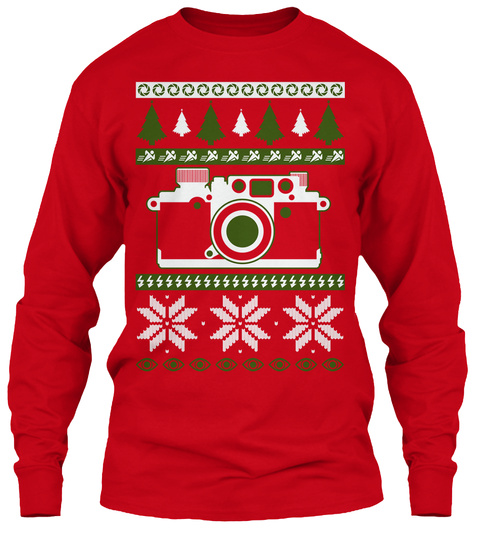 Photographer Ugly Christmas Sweater Look Red Long Sleeve T-Shirt Front